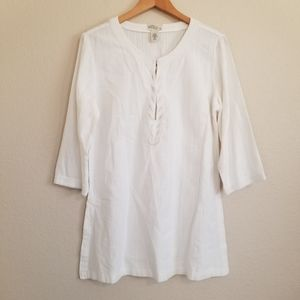 NWT Old Navy White Beaded Tunic Blouse Top L